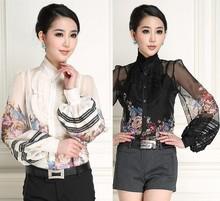 High Quality New Fashion 2015 Blouses Women Ruffled Collar Charming Floral Print Vintage Lantern Sleeve Chiffon Silk Blouses
