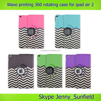 Super slim wave printing 360 rotating leather case for ipad air 2 , for ipad air 2 case leather