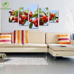 5 Panel Modern Still Life Kitchen Cherry Fruit Oil Painting Cuadros Canvas Wall Art Home Decor For Living Room Unframed
