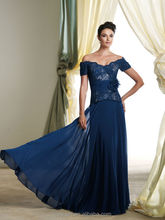 royal blue chiffon top lace cap sleeve christmas party formal evening dress