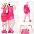 Venta al por mayor Kartoon ropa de dormir de franela Unisex adulto Piglet Animal Onesie Cosplay de Halloween pijamas del traje del traje