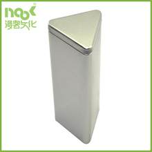 Triangular tin box with movable lid for pen and pencil packing