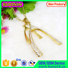 18K Gold Plated Cz Diamond Pendant Pitchfork Lucky Charm Jewelry Necklace #14650
