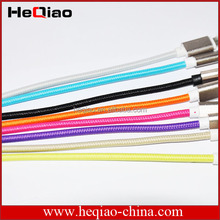 multi color for braided iphone 5 cable / rounded braided nylon fabric cable 1m 2m 3m(OEM/ODM)