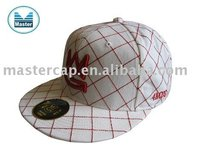 3D embroidery and running stitched all over flat brim fitted cap