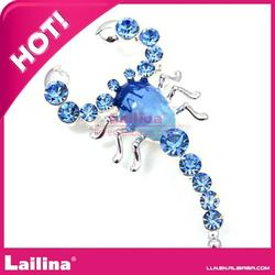 fashionable blue scorpion China rhinestone brooch pin