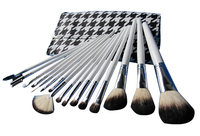 16pcs Profession Cosmetic Facial Makeup Brushes Set Makeup Tools With White Handle Leather Bag