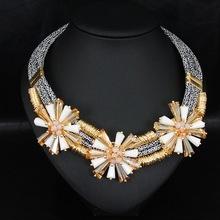 Europa y los estados unidos de moda hechos a mano cuerda collar crystal flowers