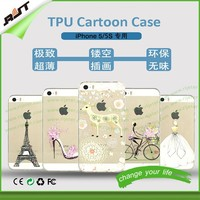 Customized deisgn popular environmental super thin clear and soft 3d silicone phone case cartoon cellphone case for iPhone 5/5s