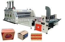Automatic corrugated carton box printing slotting packing machine