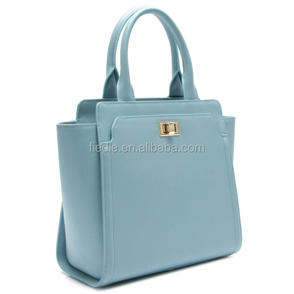 Elegant bright sky blue color fashion handbag for ladies