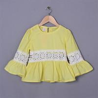 Wholesale 2015 Yellow Girl T shirt Pierced Children Lace Cotton Costume Child Blouse Infant Party Wear Korea Style GT50328-6