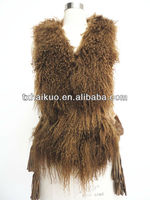 fashion latest real rabbit fur body and goat fur trimming vest for women