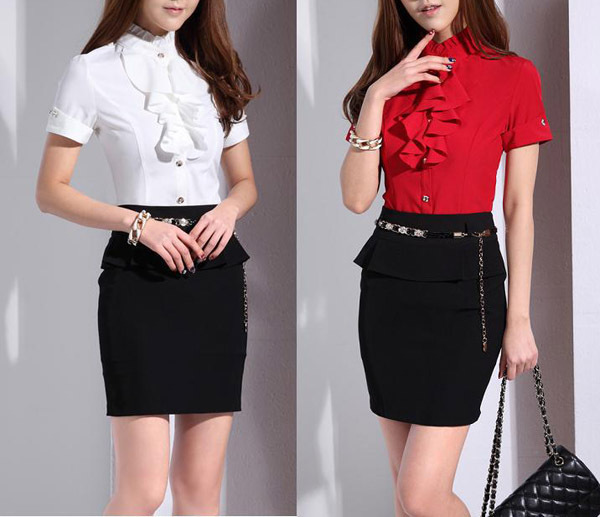 Formal Skirt N Blouse - Tie Blouse