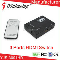 Controlled by Button and Separate Remote 3x1 HDMI Switch (HDMI Selector)