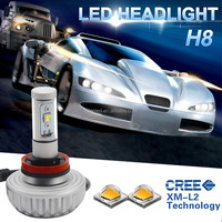 Free Shipping No Fan Design Five Color Temperature 2200lm 20W H8 LED Car Head Light