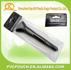 new products custom pvc zip seal fold hang tags black top plastic pouch bag