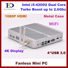 mini linux embedded pc i5-4200 thin client pcie ,Metal Case, 4*U SB 3.0, ram+ ssd,WiFi, BracketMount,4K,3D Game Computer