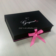 Hot Sale White & Black Folding Style Paper Gift Box For Clothing, White Box With Ribbon For Dresses, Black Boxes For Garment