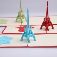 Laser cut 3D Eiffel Tower Pop Up Handmade Greeting Cards