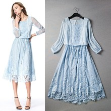 Top Quality New High Fashion 2015 Summer Dress Women Elegant Lace Patch 3/4 Sleeve Mid-Calf Casual Sweet Dress Online Shopping