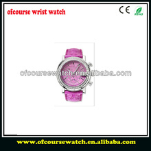 Fashion luxury diamond silver case with garnet color femal gift watch jewelry watch with leather wristband.