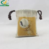 reusable small printed small drawstring linen bags