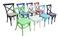 Factory Direct NEW PLASTIC STACKABLE!!Cross Back Chair Party Chairs for Sale White Plastic Stackable Chairs