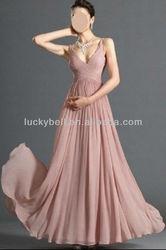 Romantic Vendor Spaghetti Strap Pink Chiffon Evening Gown