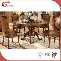 Genuine leather classic luxury wooden dining room set A78