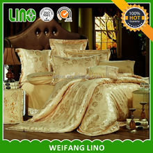 wholesale jacquard satin comfoter set/silk feeling bedsheet/cotton fitted sheet