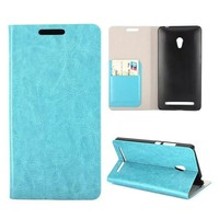Crazy Horse Texture Magnetic Folio leather phone case for asus zenfone 6