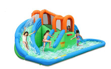 new island inflatabel water slide park with basketball hoop