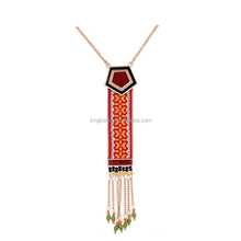 High quality charm beads alloy chain tassel long style necklace with ethnic trend jacquard ribbon decor