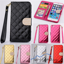 Quilted Bling Leather Flip Wallet Case Cover For iPhone 4S 5S 6 Plus and all the hot models for samsung,for iphone 6 wallet case
