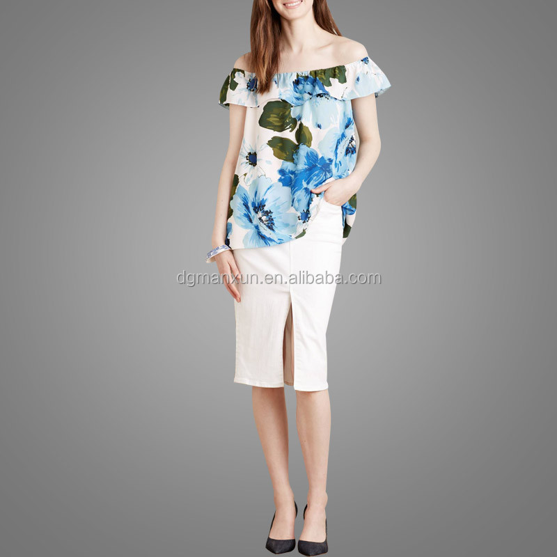 High Quality Off Shoulder Top Floral Printing Tube Top New Fashion Office Skirts and Blouses for Women (3).jpg