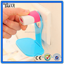 Promotional gift ABS Plastic foldable easy taking cell phone charger holder, Colorful travle Wall mount hanging charger holder