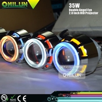 "12V 2.0"" Inch hid projector Lens Lamp with double angel halo ring"