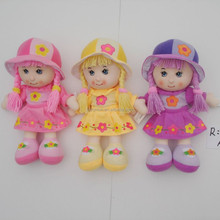 Lovely Plush Purple/Pink/Yellow Cloth Dress Girl Dolls For Girls Baby,cloth doll pattern