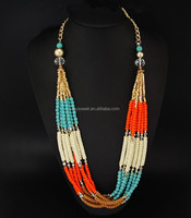 beaded chain necklace designs,modern tribal beaded necklace,beaaded necklace