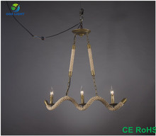 Home Lighting Unique Sprial Shaped Hemp Rope Lamp with Candle Light Wholesale