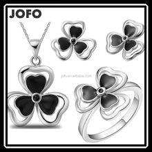 Black Enamel Luck 3 Leaf Clover Flower Necklace Pendant&Earring Ring Set JDJ0008