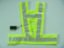 High Quality Custom 24-48 Flashing Lights LED Safety Vest High Visibility Knitted V/H shape Traffic Warning Vest