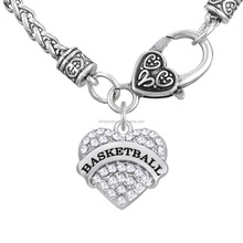 Magnetic Lobster Clasp Rhinestone Heart Pendant Custom Engraved Black Print Basketball Necklace