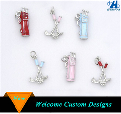 Bulk wholesale 25mm enamel golf and golf bag shaped charms