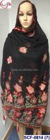 SCF-0814 (7) Black red beautiful flower soft embroidered scarf/shawls/wrap/pashmina