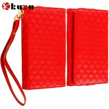 Wholesale Red Luxury Leather Wallet Pouch Case Cover with Slots for Samsung Galaxy Note, Factory price mobile phone case cover