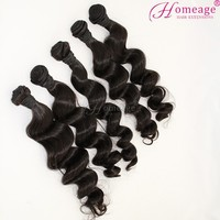 homeage 5a grade virgin human hair extensions remy loose curl weave woman hair