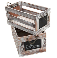 Distressed White Wash Wood Rustic Nesting Boxes / Storage Crates w/ Chalkboard Labels (Set of 2)