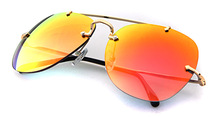2015 Good Quality Mirror Orange Metal Aviator Sunglasses